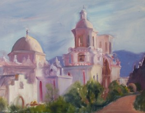 San Xavier Mission, oil painting by Judy DeVincentis Morgan.