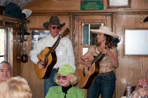 Entertainers perform aboard the annual Cowboy Poetry Train on the Durango & Silverton Narrow Gauge Railroad.