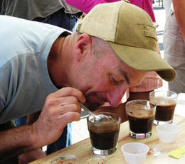 Aren't you supposed to drink it? Snorting it seems...painful. (Just kidding. It's a coffee cupping demonstration.)
