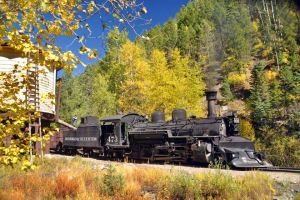 The Durango and Silverton train steams past fall foliage in the San Juan National Forest. (Photo: Durango & Silverton Narrow Gauge Railroad.)