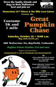Great Pumpkin Chase 5K and 1-mile run_costume run_Bayfield Colorado