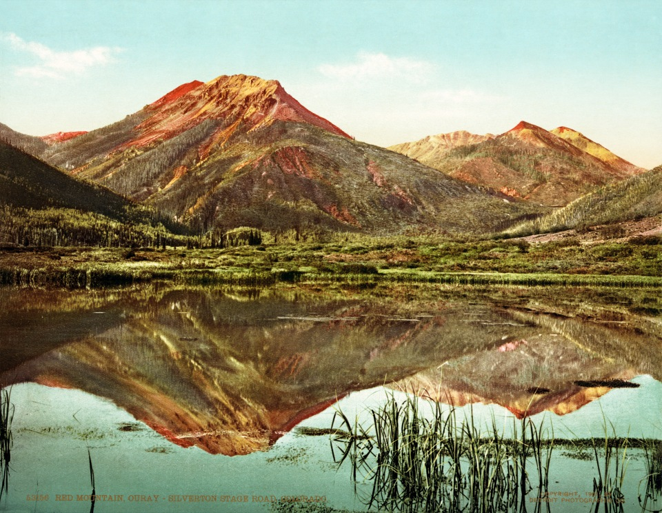1901 photochrom print of the Ouray–Silverton stage road, now known as U.S. Highway 550 and part of the San Juan Skyway.