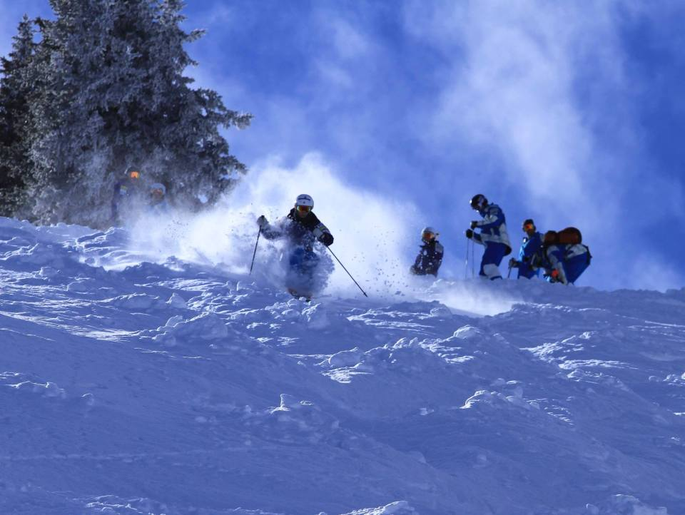 The U.S. Freestyle Mogul Team training at Wolf Creek Ski Area in November 2013.